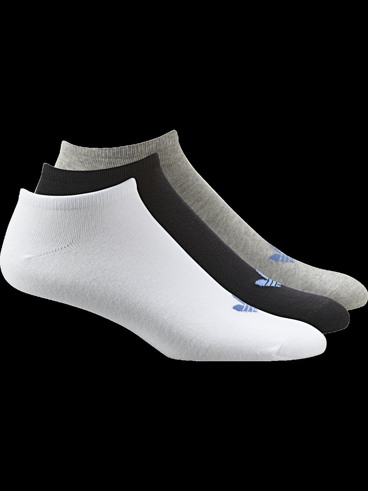ADIDAS Chaussettes trefoil courtes gris / blanc / noir logo bleu