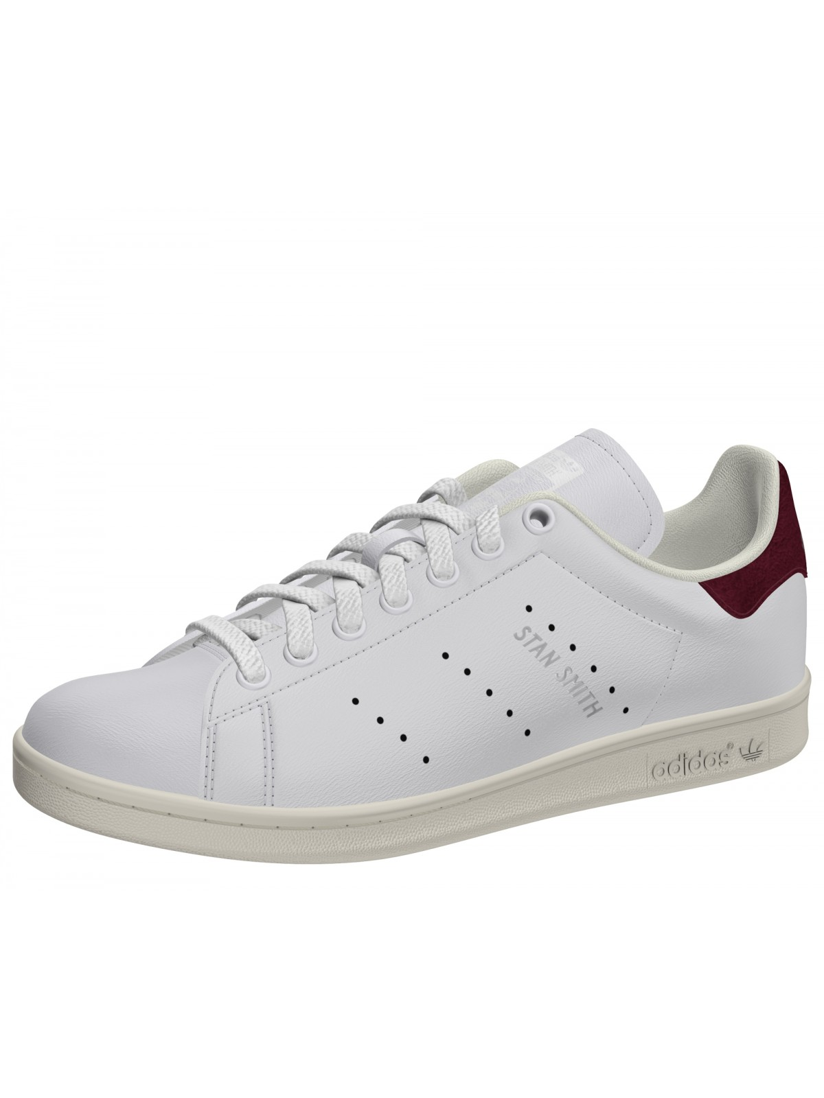 Adidas Stan Smith cuir blanc / bordeaux