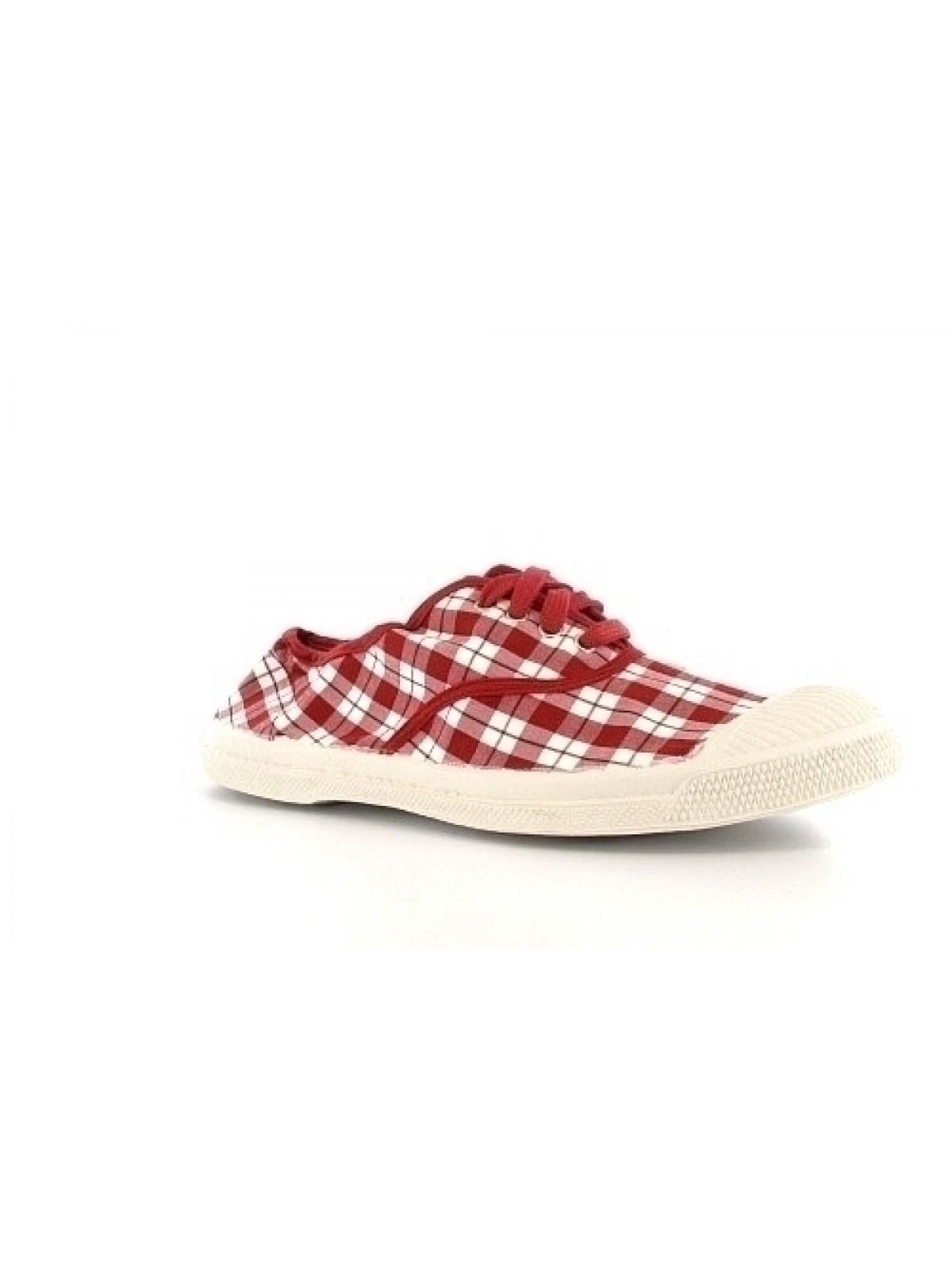 Bensimon tennis lacet carreaux rouge