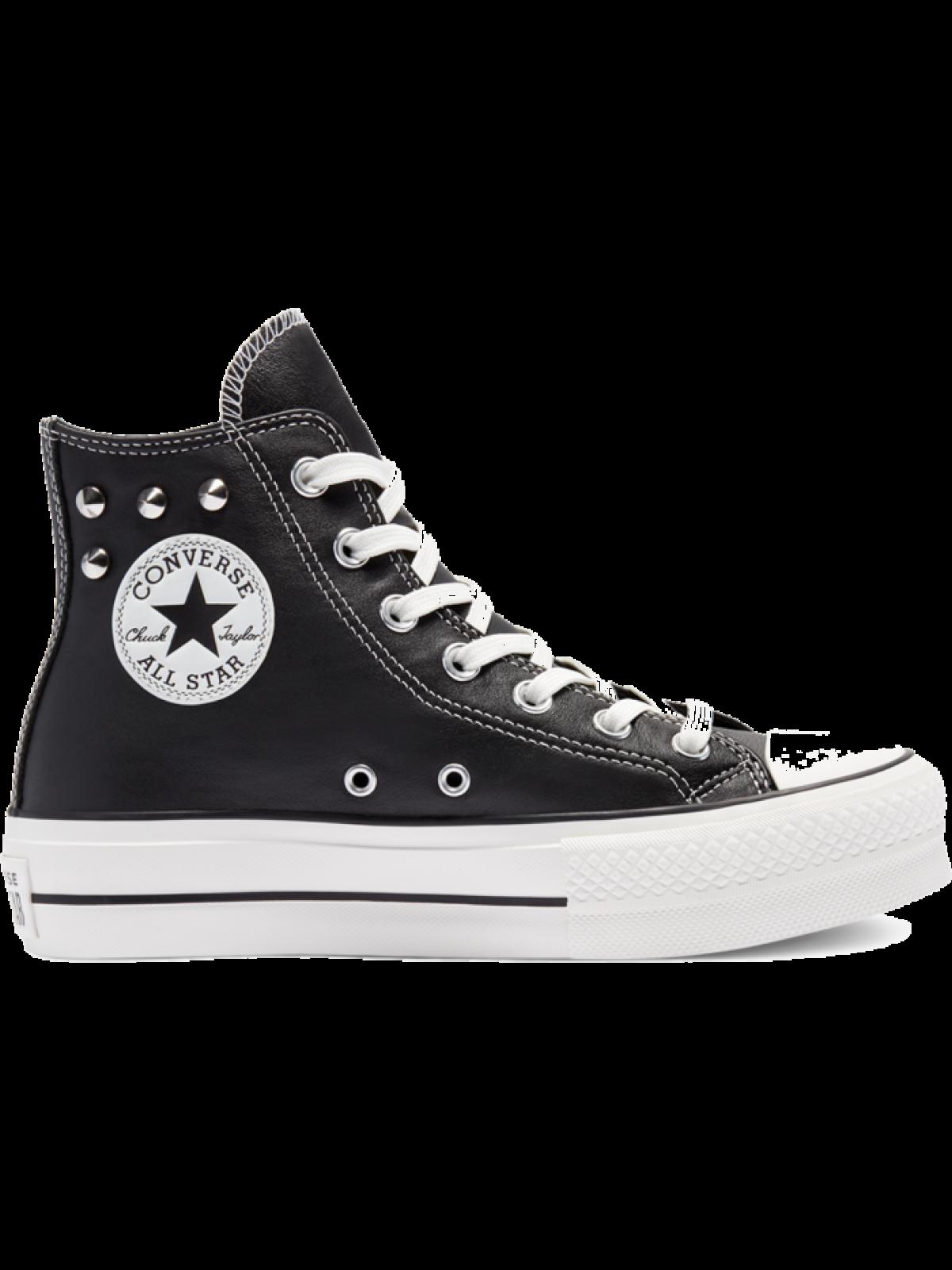 Converse Chuck Taylor all star Lift cuir plateforme Studs noir
