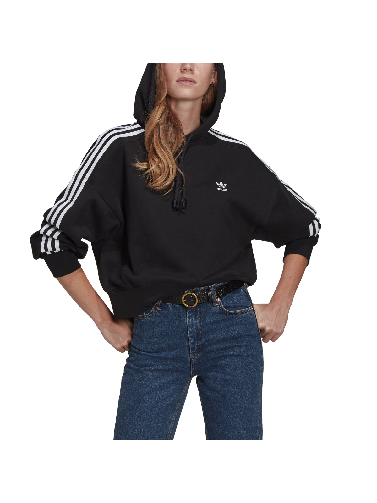 ADIDAS GN2890 Sweat Adicolor Crop noir / blanc