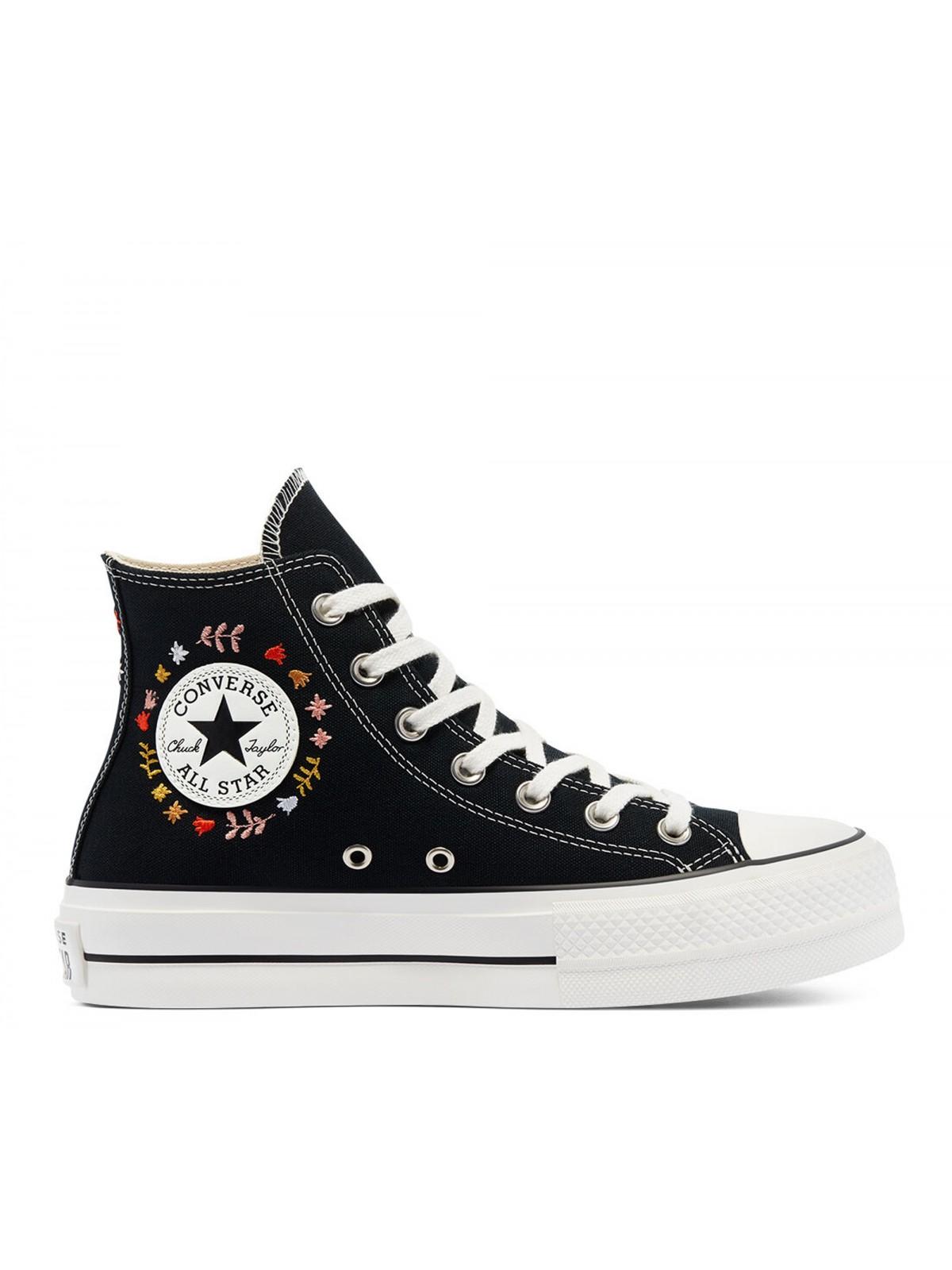 Converse Chuck Taylor all star Lift toile plateforme Fleur noir