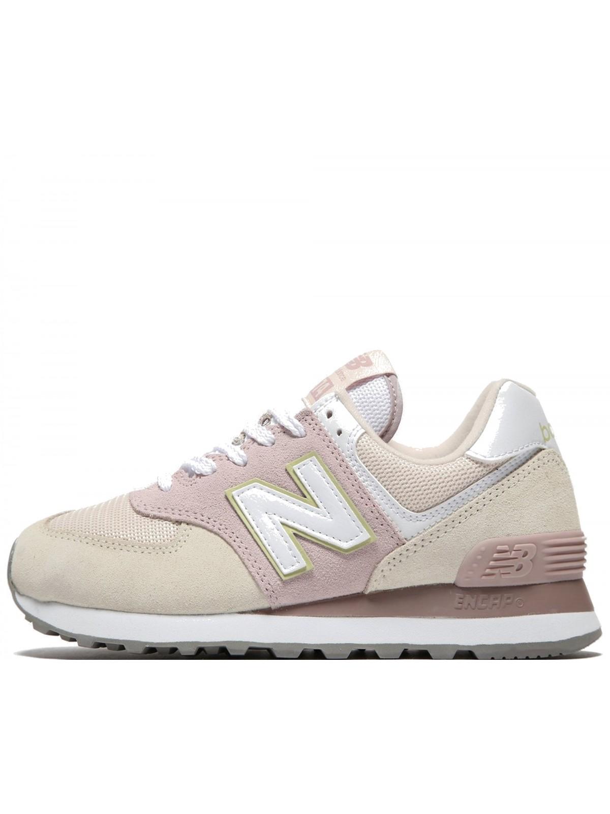 New Balance WL574 suède beige / rose