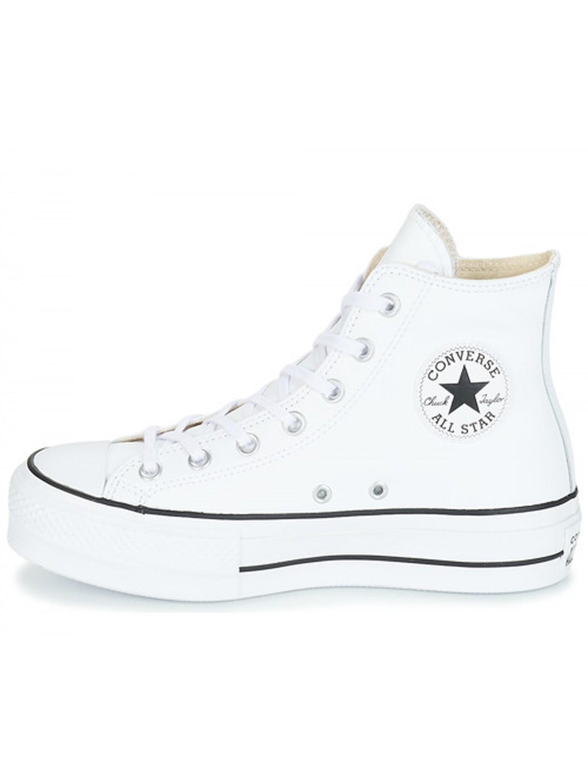Converse Chuck Taylor all star Lift cuir plateforme blanc