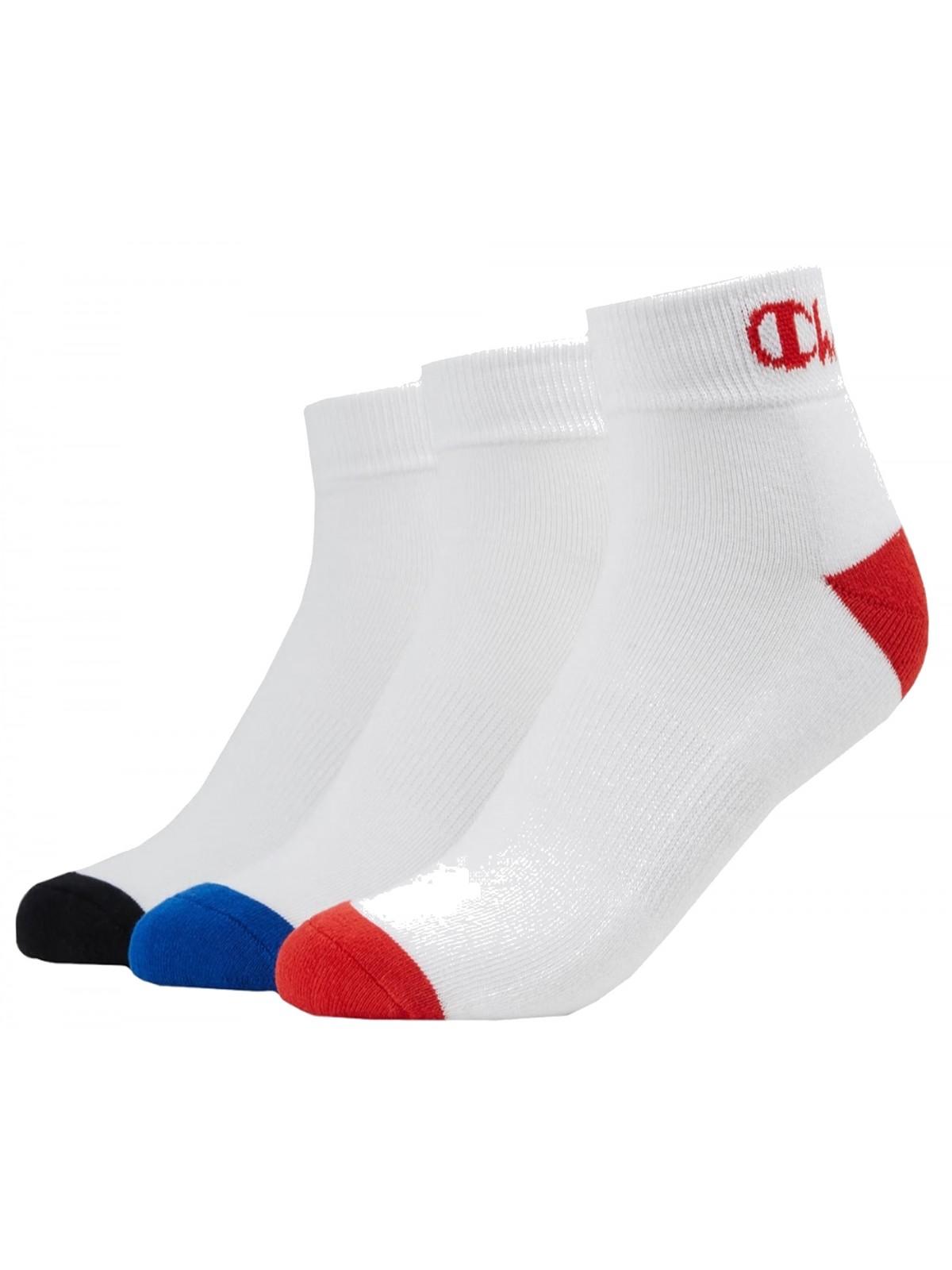 Champion chaussette mi- haute X3 blanc / rouge blanc / bleu blanc / noir