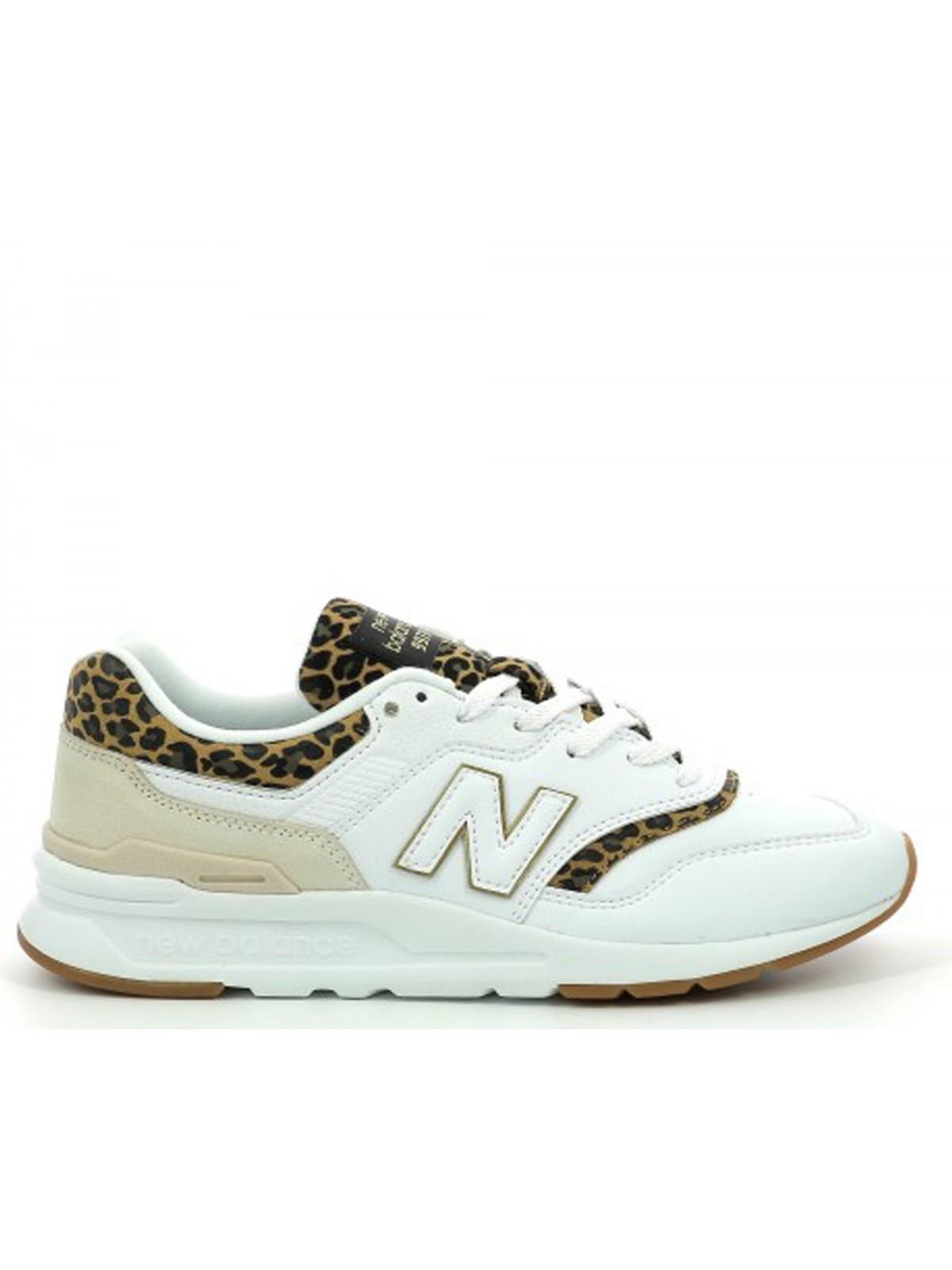 New Balance CW997 cuir blanc / léopard