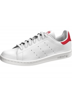Adidas Stan Smith simili cuir blanc / rouge