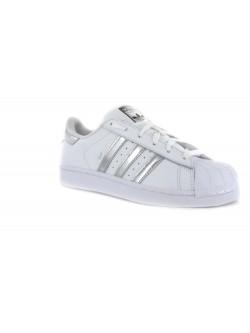 Adidas Superstar cuir blanc / argent