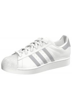 Adidas Superstar cuir blanc / gris
