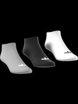 ADIDAS Chaussettes trefoil courtes gris / blanc / noir