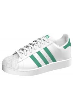 Adidas Superstar cuir blanc / vert billard