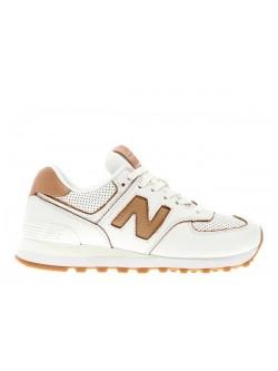 New Balance WL574 cuir blanc / camel