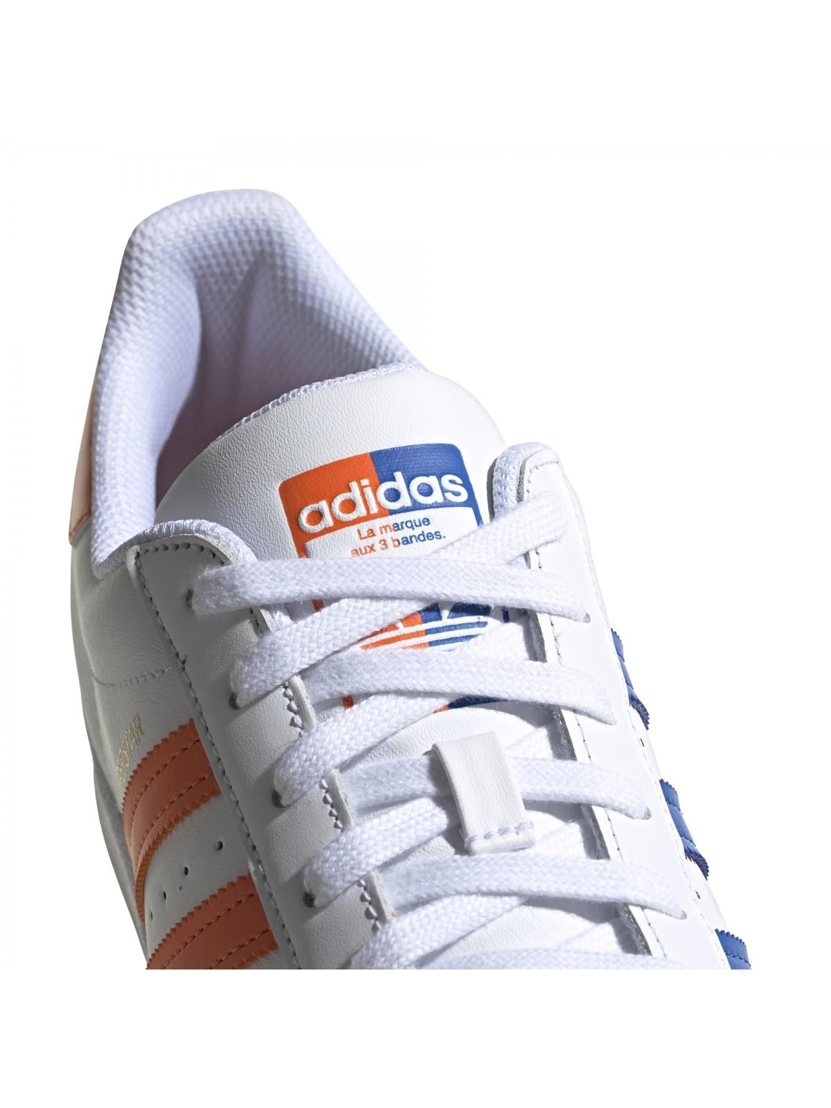 ADIDAS Superstar cuir bicolore orange / bleu - Superstar - ADIDAS ...